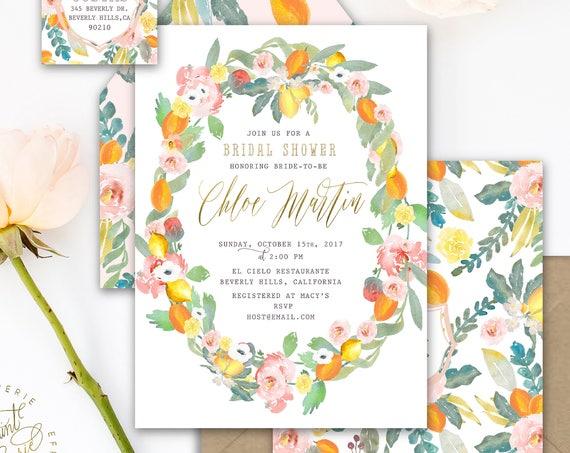 Citrus invitation - lemon invitation - bridal shower invitation - floral wreath invitation - freshmint paperie