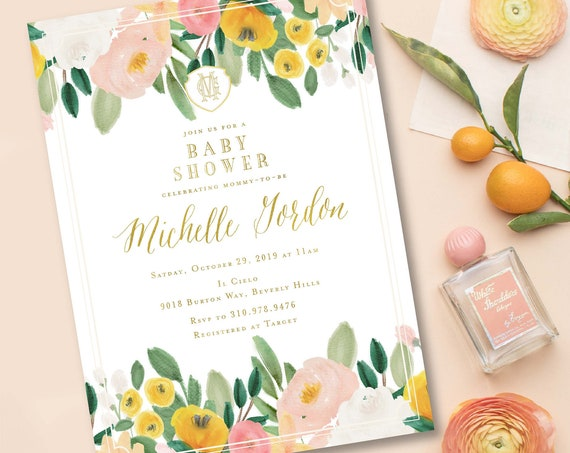 Watercolor Flower invitation - Floral - baby shower invitation - Watercolor invitation - Pretty invitation - shower invitation