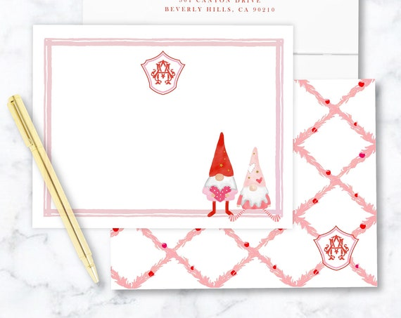 Personalized Stationery - Watercolor Valentine's Day Gnomes - Valentine's Day Gnomes - Gnomes Stationery - Valentines Stationery - set28