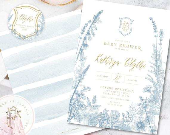 Monogram Baby Shower Invitation - baby shower invitation - baby shower invitation - wreath ribbon invitation - Neutral baby shower