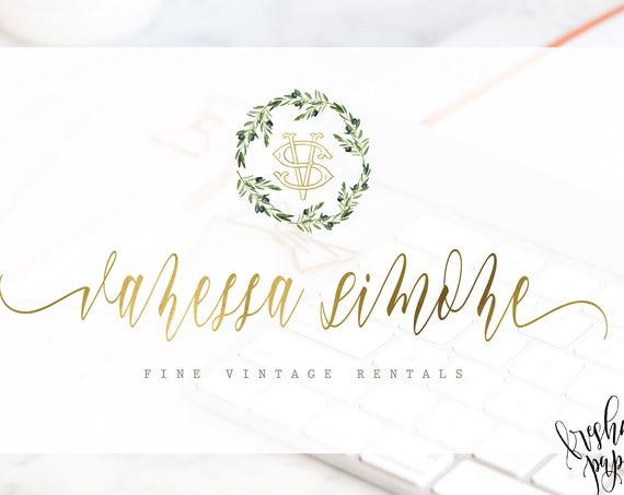 watercolor logo - blush logo - calligraphy logo - monogram logo - olive tree logo - freshmint paperie