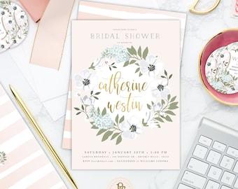 Floral invitation - flower invitation - bridal shower invitation - watercolor invitation - baby shower - white flowers - style 501
