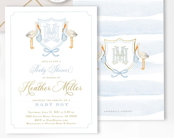 Watercolor Stork Invitations, Stork Invitation, Baby Shower Invitation, Drive by Baby Shower, Mail in Baby shower, Monogram Stork Invite