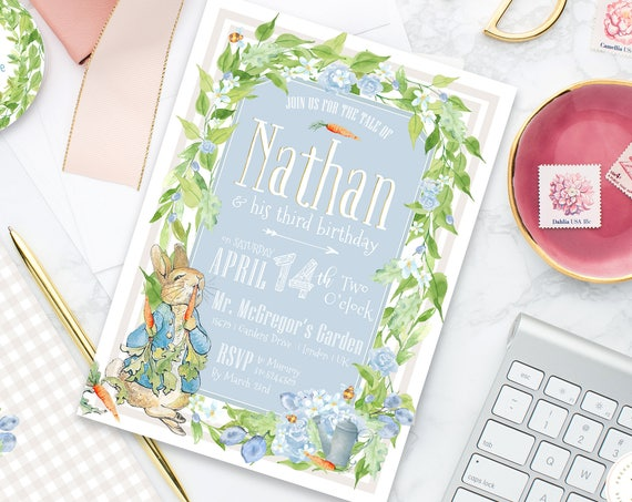 Peter Rabbit invitation | Bunny Birthday Invitation | Easter Invitation | Easter Bunny Invite | Peter Rabbit Invite | Rabbit invitation