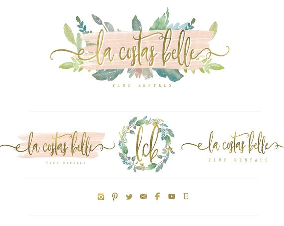 Chic logo design - gold logo - calligraphy logo - watercolor logo design - freshmint paperie