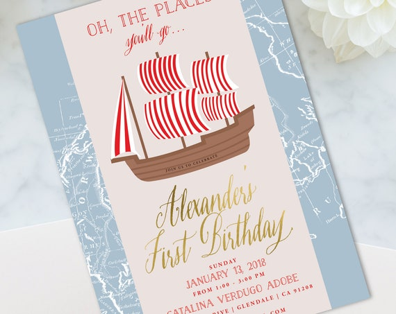 Pirate Invitation - Pirate birthday Invitation - Pirate Birthday Party Invites - Nautical Invitation - Oh the places you'll go - Nautical
