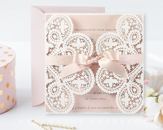 Baptism invitation, Christening invitation, Dedication invitation, Laser cut invitation, Gate fold invitation, Lace Doily Invitation, Blush