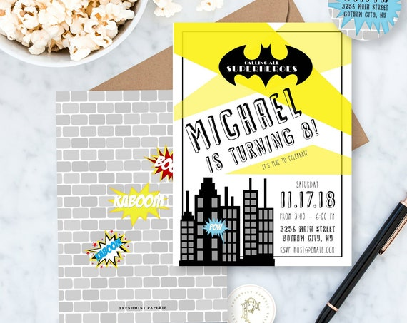 Batman birthday invitation - Superhero invitation - Batman party - Batman invitation - Superhero invite