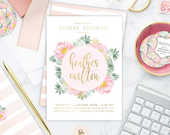 floral invitation - Flower invitation - bridal shower invitation - watercolor invitation - baby shower - pink flowers - freshmint paperie
