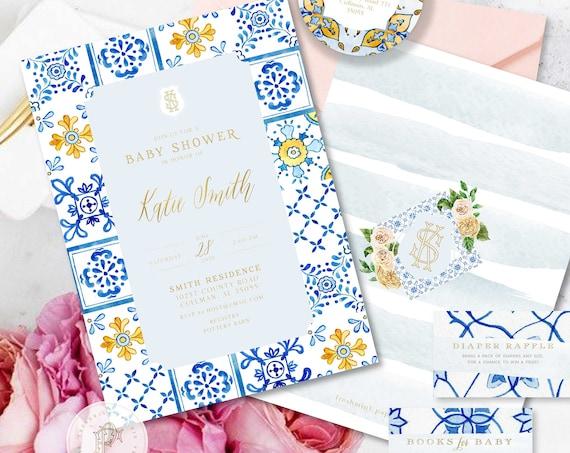 Lemon invitation - Citrus invitation - Baby Shower invitation - Blue Porcelain invitation - Mediterranean invite - Mediterranean Tile invite