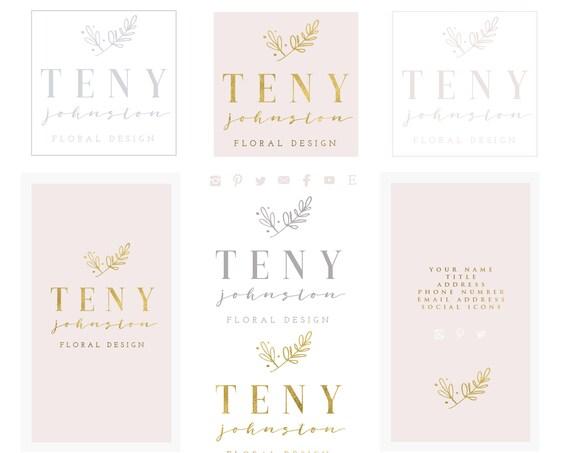 modern logo | modern script logo | calligraphy logo | pretty logo | blush pink floral logo | laurel wreath logo |  freshmint paperie