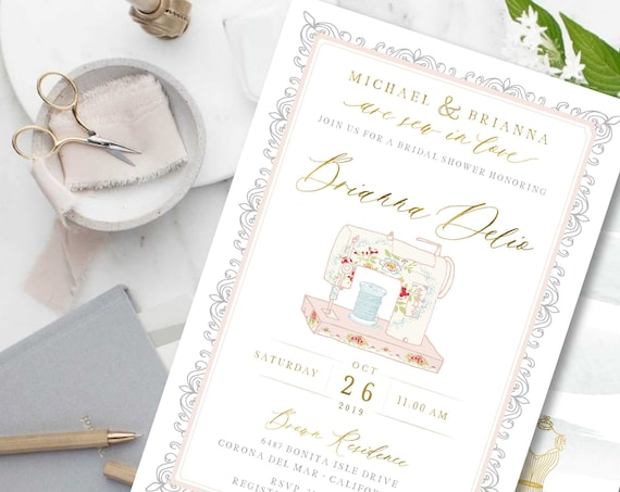 Sew in love invitations - bridal shower invitation - sew - sewing bridal shower - sew in love - freshmint paperie