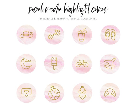 Instagram Story Highlight Icons - Blogger Instagram Story Covers, Hand drawn Icons, Story cover, Instagram, social media icons, vol.2