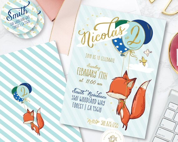 Fox invitation - Safari invitation - Zoo invitation - Red Fox invitation - woodland animals invitation - zoo animals