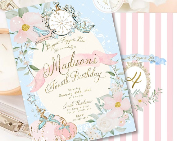 Princess Birthday Invitation, Princess invitation, Cinderella invitation, Royal invitation, Royal Ball Invite, Cinderella Party
