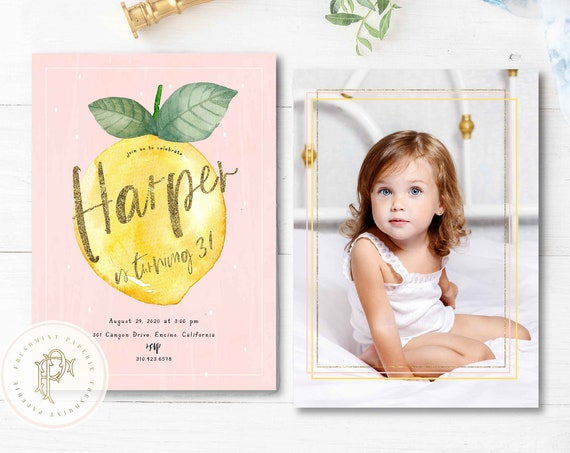 Lemon Birthday Invitation, Citrus birthday invitation, Lemon invitation,  Watercolor Lemon invitation, Lemon Birthday Invite, Picture