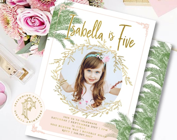 Palm Leaves invitation - Beverly Hills Hotel Birthday invitation - Picture invitation - Tropical Birthday Invitation - Palm Leaves Pink