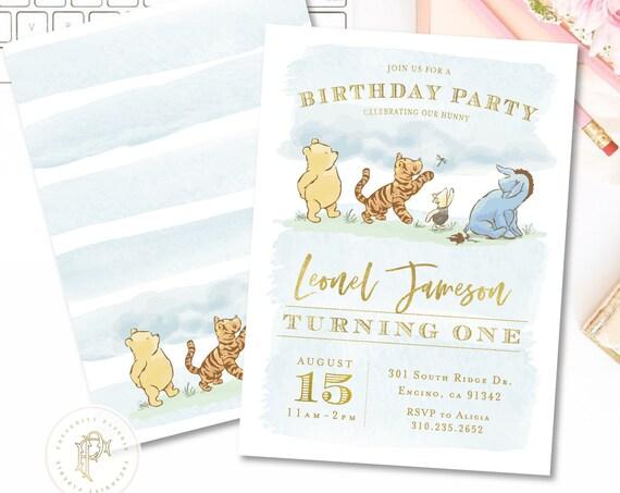 Pooh Birthday invitation,  Winnie the Pooh,  Classic Winnie the Pooh invitation, Vintage Winnie the Pooh Invitation, Winnie the Pooh Invite