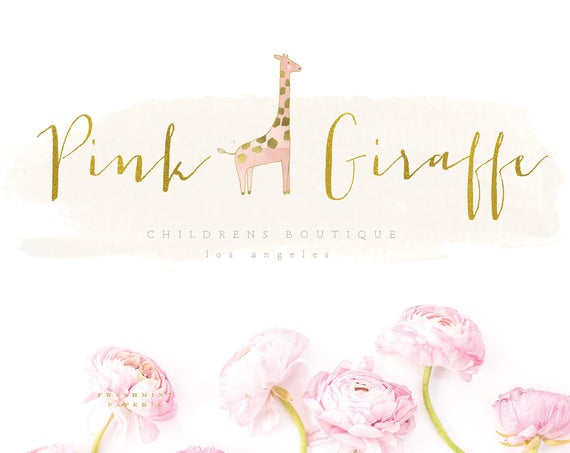 modern calligraphy logo - giraffe design - calligraphy logo - pretty logo - childrens boutique logo - watercolor logo -  freshmint paperie