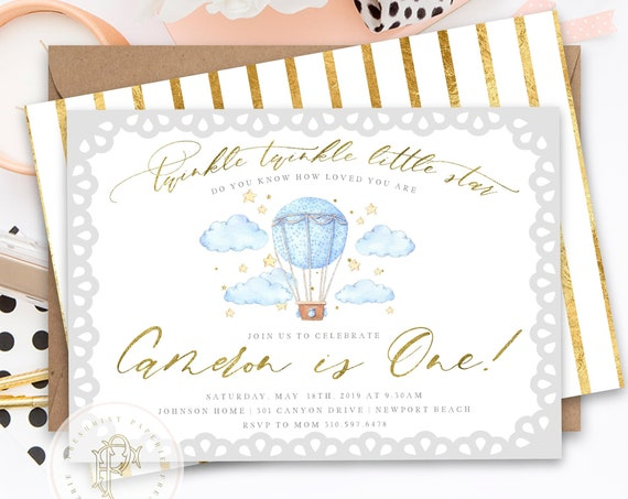 twinkle twinkle little star invitation - Star invitation - twinkle twinkle little star birthday invitation - hot air balloon invitation