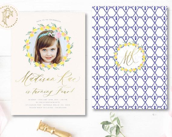 Lemon invitation - Lemon Floral Birthday invitation - Picture invitation - Tropical Birthday Invitation - Pink Lemons invitation