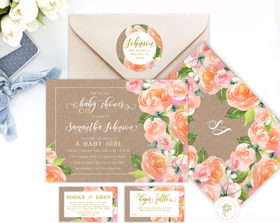 Peach Floral invitations - Floral Watercolor  invitation - baby shower invitation - Easter invitation - freshmint paperie