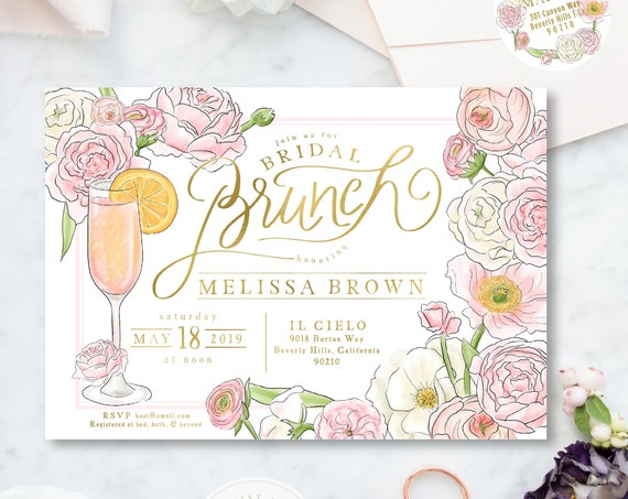 Brunch & Bubbly Invitation - Champagne invitation - Bridal Shower Invitation - Mimosa invitation - Mimosa Shower invitation