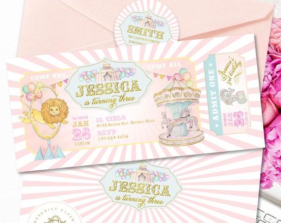 Carousel invitation | Carousel Birthday Invitation | Circus invitation |  Carnival Circus Invitation | Girls Carnival Invite | Pink Carnival