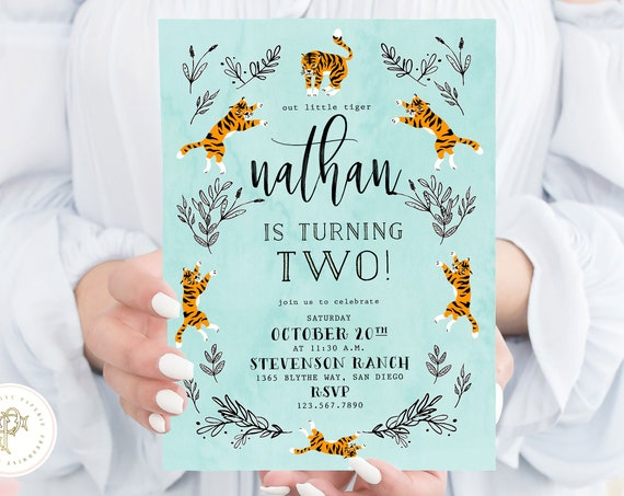 Tiger invitation - Party Animal Invitation - Zoo Party Wild Animal Invitation - Jungle Invitation - Tiger Theme - Tiger Birthday