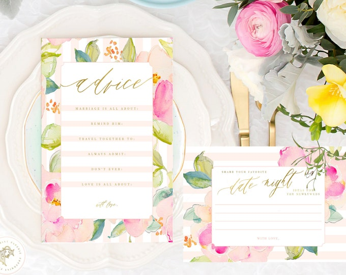 Advice card - Date Night Ideas card - Bridal Game Card - Advice for the Bride to be - Bridal Mad Libs - Bridal Shower Games