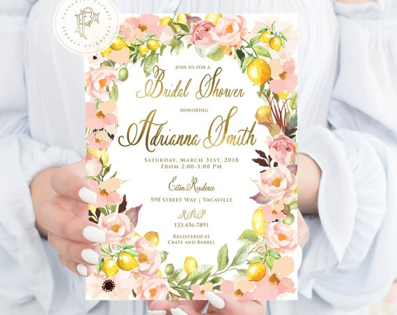 Lemon Invitation - Lemon Floral Invitation - Bridal Shower Invitation - Watercolor Flower Invitation - Freshmint Paperie