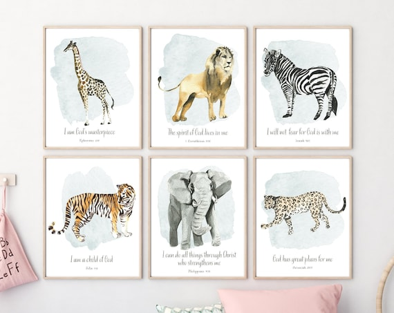 Jungle Animals wall art, Kid's Bible Verse Wall Art, Safari Animal Prints, Baby Boy Nursery Wall Art, Nursery Decor, Scripture Wall Art