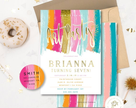 PAINT PARTY Invitation - Art Party Invitation - Painting Invitation - Arts & Crafts invitation - Let's Paint invitation