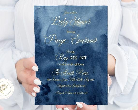 Blue Watercolor invitation - Ombre Watercolor invitation - baby shower invitation - Baby Boy Shower invitation - freshmint paperie