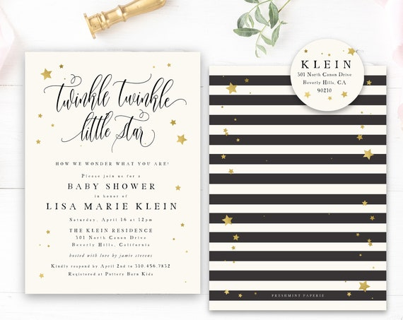 twinkle twinkle little star invitation - Star invitation - twinkle twinkle little star birthday invitation - Star invitation