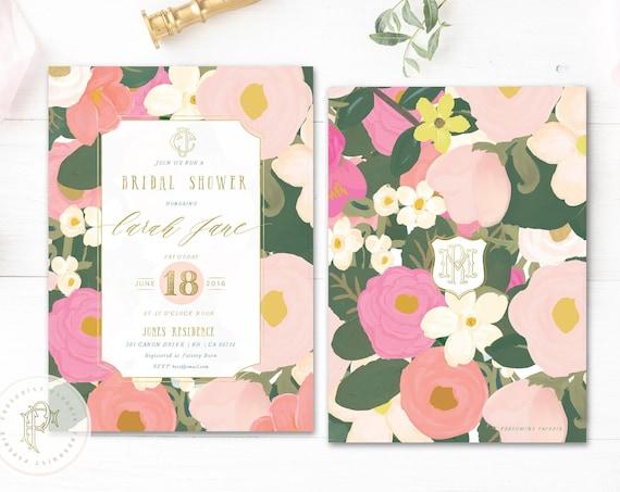 Tropical invitation - floral invitation - bridal shower invitation - watercolor invitation - baby shower - watercolor - freshmint paperie