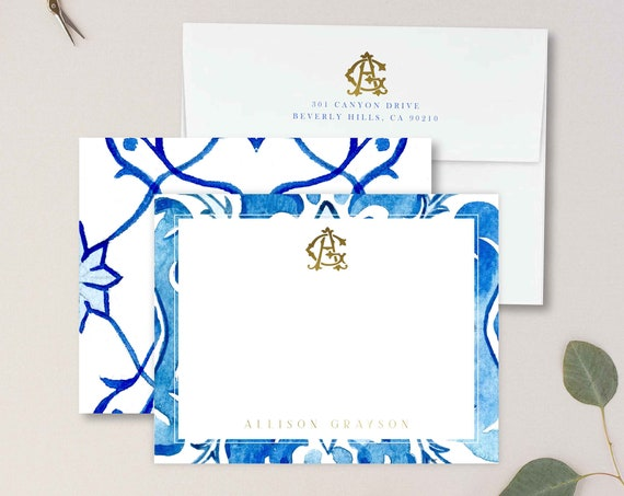 Personalized Stationery - Monogram Note Cards - Monogram Stationery Note Cards - Stationery Suite - Mediterranean tile - set35