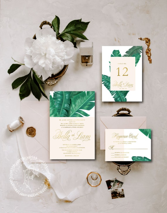 Tropical Wedding Invitation | Wedding invitation | Gold foil Wedding Invitation | Banana Leaf Wedding invite | Palm Leaf Wedding invitation