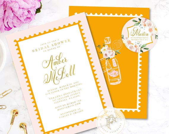 Champagne invitation - bridal shower invitation - pink & orange invitation - Champagne - Brunch Invitation - Veuve inspired