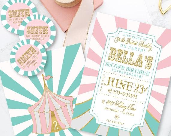 Circus ticket invitation - pink & aqua carnival invitation - circus invitation - carnival ticket invitation - kids birthday invitation