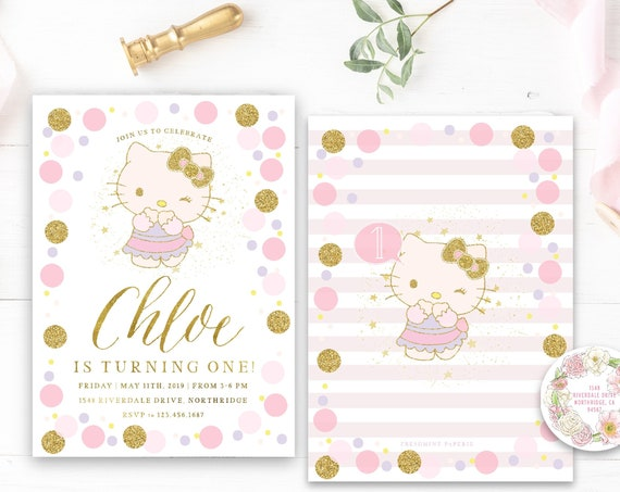 hello kitty invitation - hello kitty Birthday - hello kitty Party - kitty invitation - hello kitty digital invitation - hello kitty inspired