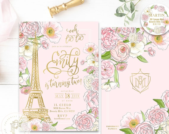 Paris invitations - french invitation - parisian birthday invitation - Parisian invitation - ooh la la invitation - Paris invite