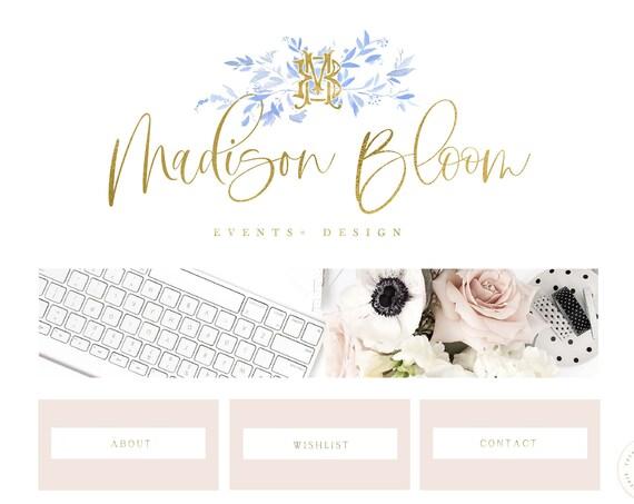 MONOGRAM logo | modern script logo | modern logo | pretty logo | Blue Floral logo |  freshmint paperie