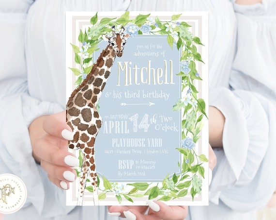 Giraffe invitation - first birthday invitation - safari invitation - zoo invitation - jungle invitation - Birthday Safari invitation