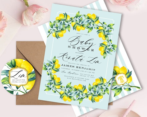 Lemon Branch invitation - Lemon invitation - baby shower invitation - Watercolor Lemon invitation - Lemon theme - freshmint paperie