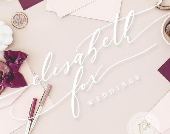handlettered logo -  logo design - calligraphy logo - gold logo - laurel logo- business branding - pretty logo - freshmint paperie