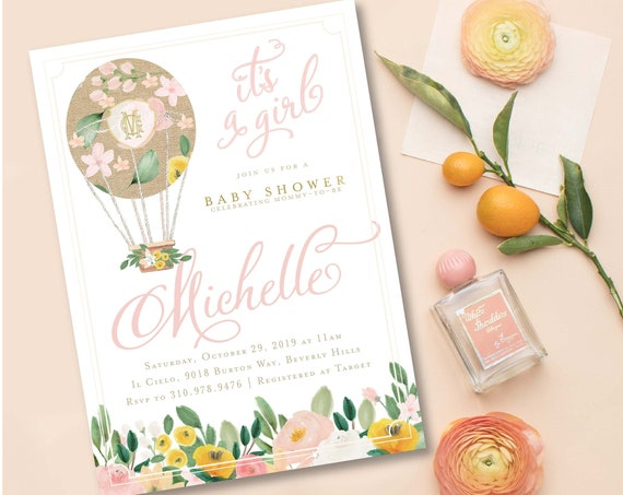 Hot air balloon Baby Shower invitation - baby shower invitation - Watercolor invitation - Pretty invitation - shower invitation