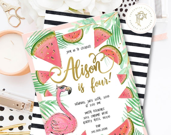 Flamingo invitation | Pink Flamingo invitation | Watermelon invitation | Pretty flamingo invitation | Watermelon invite | Summer Invitation