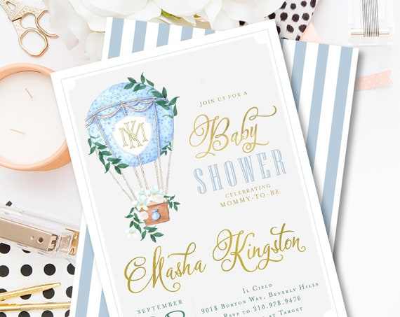Hot Air Balloon Baby Shower Invitations, Baby Boy Shower Invitations, It's a Boy Invite, Blue Balloon, Up Up Away, Balloon Shower Invites