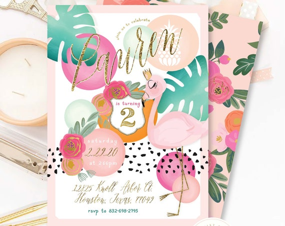 Flamingo invitation tropical soiree invitation aloha invitation Hawaiian invitation Flamingo birthday invitation tropical flamingo